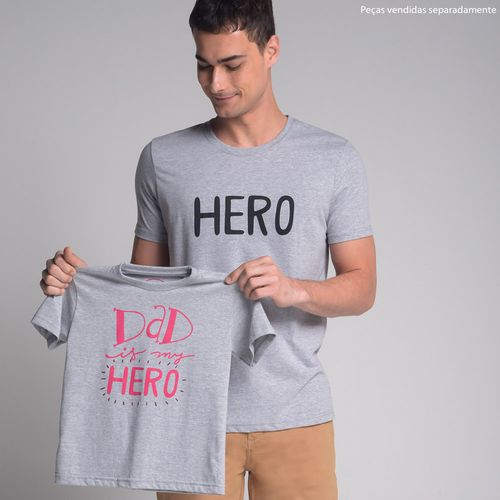 Camiseta-Dad-is-My-Hero-Cinza-Rosa