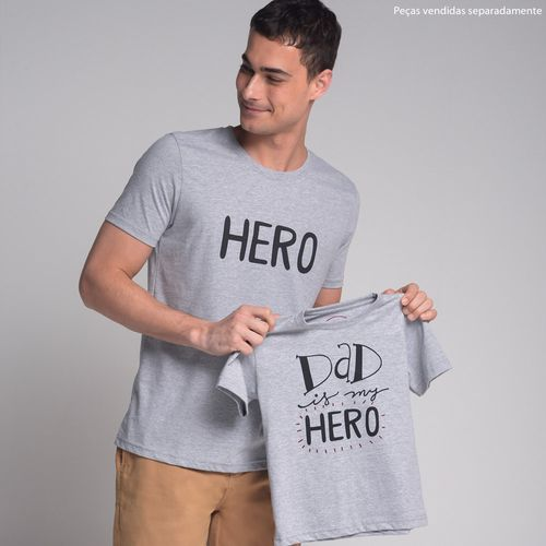 Camiseta-Dad-is-My-Hero-Cinza-Preto