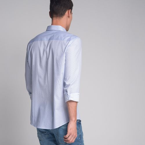 Camisa-Slim-Mini-Poa-Azul