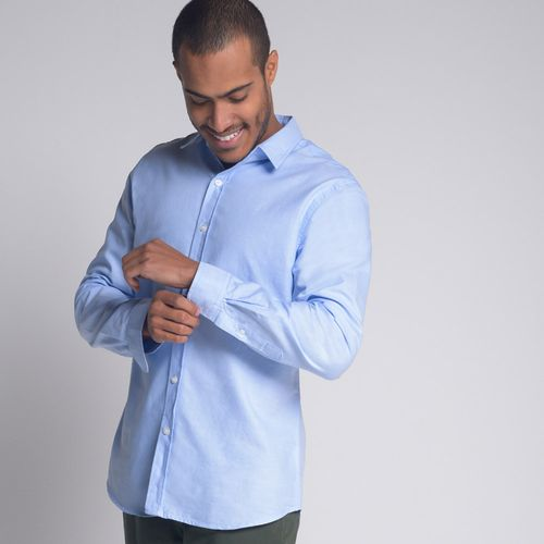 Camisa-Slim-Oxford-Azul