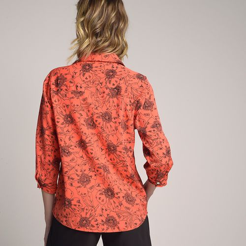 Camisa-Orange-Flower-Estampada